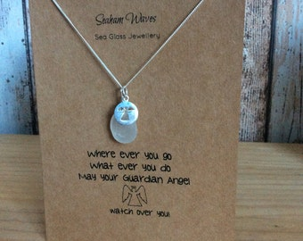 White Sea Glass Sterling Silver Necklace Guardian Angel Card