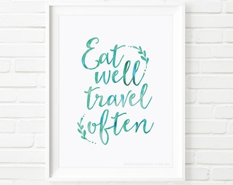 Printable Art, Eat well, travel often, printable quote, home decor, watercolor art, inspirational quote, travel quote print, quote art, blue