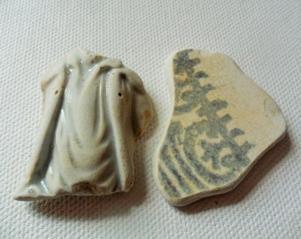 Pair of cream and grey beach pottery finds - Lovely Spittal beach northumberland