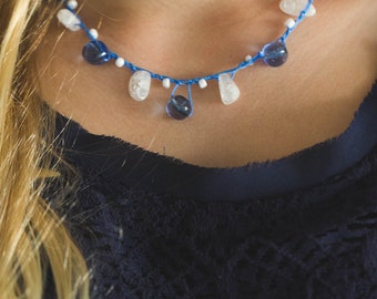 Blue and White Crochet Beaded Necklace -Blue Beach Necklace