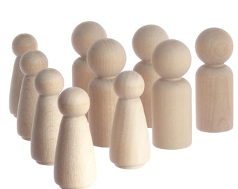 Five 6cm peg doll boys and five 5.1cm girls - unpainted solid wooden peg people perfect for making decorations, toys, cake toppers