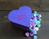 listing for 1 wooden conversation candy heart shaped box