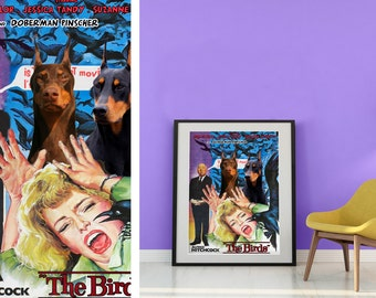 Doberman Pinscher Fine Art Poster Canvas Print - The Birds Movie Poster by Nobility Dogs