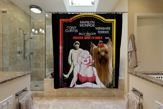 Yorkshire Terrier Art Shower Curtain, Dog Shower Curtains, Bathroom Decor - Some Like It Hot Movie Poster by Nobility Dogs