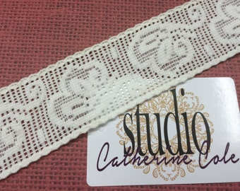 "1 yd White 2"" wide stretch lace Noir galloon lace trims great for hair accessories headbands cuffs Catherine Cole Studio"