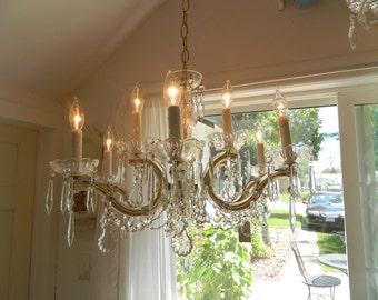 Vintage French 9 Arm Chandelier Maria Theresa Style