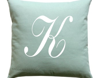 Personalized Pillow- Alphabet Home Decor- Wedding Gift Pillow Cover- 16x16 Zippered Cushion Case- Choose Colors- Baby Nursery Decor