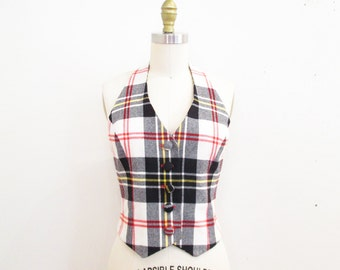 Vintage 1970s Halter Top | Black and Red Plaid Wool 1970s Vest | size small - medium | 7B001