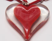Valentine Lucite Red Heart Necklace - 1950