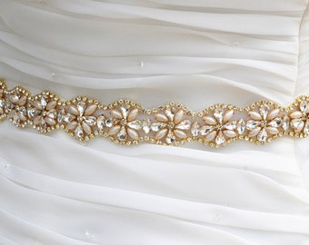 SALE Gold Wedding Belt, Bridal Belt, Sash Belt, Crystal Rhinestones sash belt