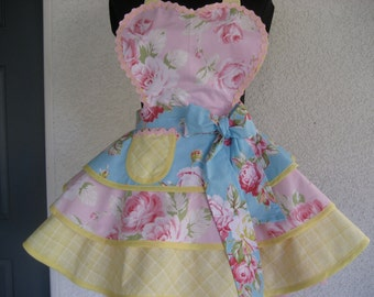 Cottage Chic Womens Apron Three Tier Sunshine Roses