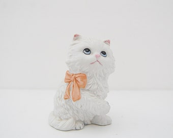 Vintage Cat Figurine, Porcelain Homco White Kitten with Pink Bow, Crazy Cat Lady Gift
