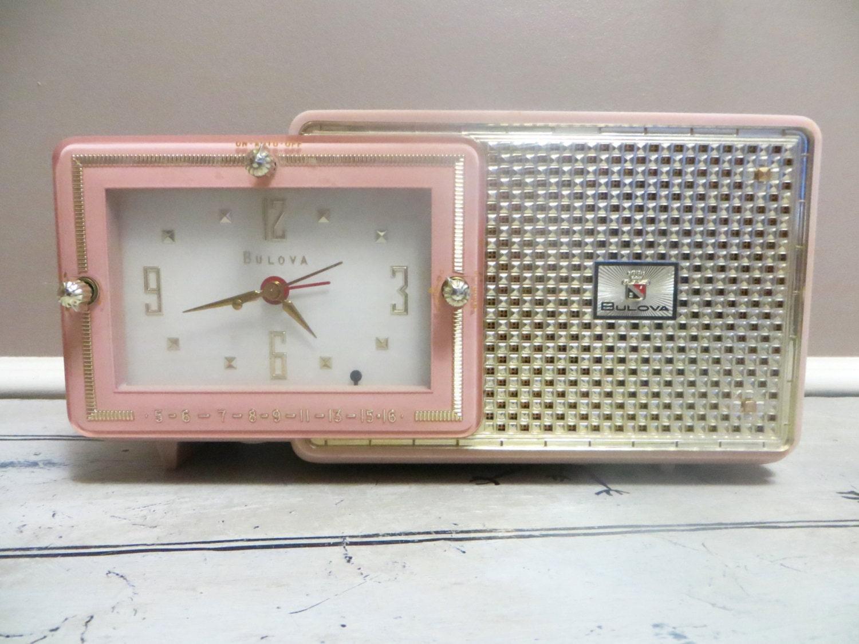 Vintage Pink Bulova Clock Radio Alarm Clock AM Radio Pink
