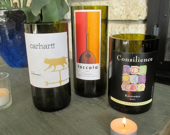 Set of 3 California Wine Bottle Vases / Candle Holders
