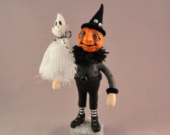 OOAK Hand Sculpted Polymer Clay Pumpkin Head Figurine with a Ghost