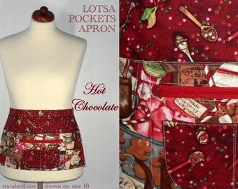 Hot Chocolate Lotsa Pockets Apron, Christmas Vendor Apron with zipper pocket, Holiday Teacher/ Waitress Apron, READY-MADE version