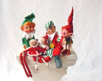 Elf trio with two Santas, Christmas kitsch tree ornaments in red and green felt holiday attire