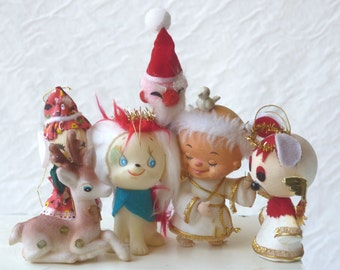 Kitsch Christmas ornaments, lot of six cute holiday decorations,