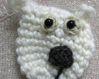 Crochet Pattern for Otto the Polar Bear Brooch