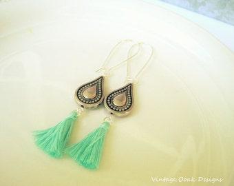 Tassel Earrings, Long Tassel earrings, Summer Tassel Earrings,Long Earrings,Boho Earrings,Bohemian Earrings,Fringe Earrings,Bridal Jewelry,