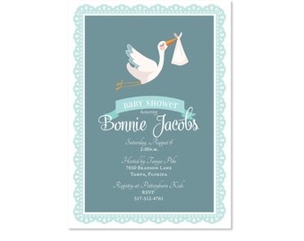 Sweet Baby Stork Shower Invitation, Baby Boy or Girl, Baby Shower Invite, Sprinkle, Sip and See, Sip N See, Special Delivery