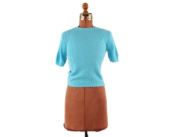Vintage 1960's Soft Sky Blue Acrylic Knit  High Waist Peppy Rockabilly Blouse Shirt Light Sweater Top M
