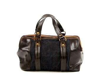 Vintage 1970's Levis Orange Label Indgo Blue Denim Jean Doctor's Bag Satchel Purse Handbag