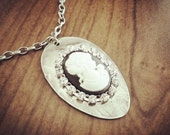 ON SALE Recycled Antique Spoon Necklace with Vintage Cameo and Rhinestones