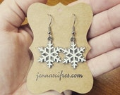 ON SALE White and Silver Snowflake Earrings - Holiday Jewelry - Hostess Gift - Hypoallergenic Nickel Free - Christmas Jewelry - Free Gift Bo