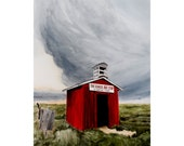 SALE The Red Bust Stop Storm Western Gothic  Large Original Watercolor painting