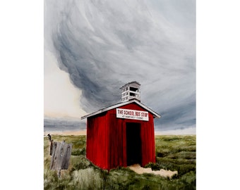 The Red Bust Stop Storm Western Gothic  Large Original Watercolor painting
