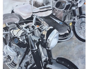 Sidecar 11 x 14 print of Motorcycle pen and ink Watercolor painting