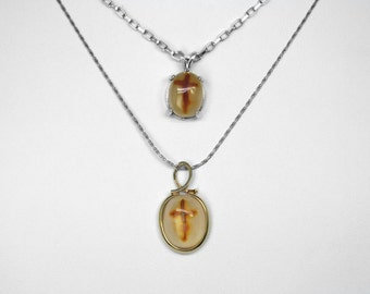 Chalcedony Cross Pendants in Silver and Gold, Choice of 2