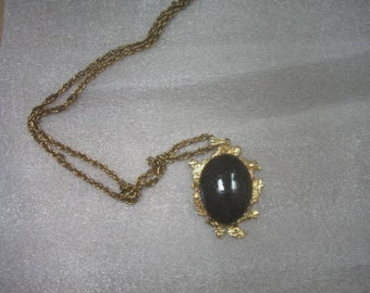 "Vintage  Pendant  with Stone and chain about 14"" long."