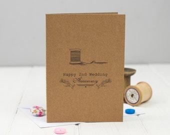 Second Anniversary Card - 2nd Wedding Anniversary Card - Cotton Anniversary - Anniversary Card -  2nd Anniversary