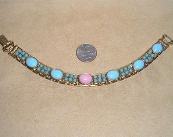 Vintage Bracelet With Faux Glass Turquoise Coral Pink Glass Center 1960's Jewelry 2084