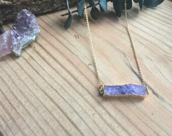 Handmade Gold Brass Purple Druzy Necklace