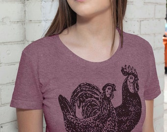 Rooster and Hen T Shirt - Womens American Apparel Tshirt - S M L XL (20 Color Options)