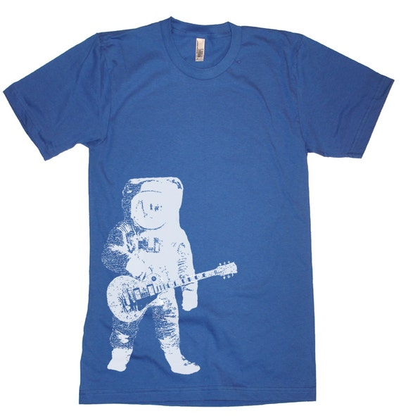 On Sale - Astronaut Guitar in Ourter Space T Shirt - American Apparel - Heather Lake Blue - Size Medium