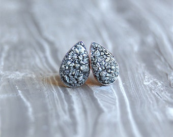 Crushed Crystal Druzy 'Tears of Joy' ROSE GOLD Sterling Silver Studs