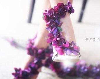 Purple Wedding shoes,  Bridal Pump with Straps, Purple Bridal Shoes, Bridal Couture, gold pumps, Flower Shoes, Floral Pumps, silver pumps