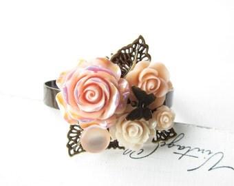 Armreif,Armband,bracelet,cuff,Hochzeit,wedding,Braut,bride,Vintage,flower wedding,flower bracelet,flower cuff,pfirsich,peach