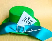 Hatter In Wonderland Mini Top Hat In Green - Original Design By hatandmouse