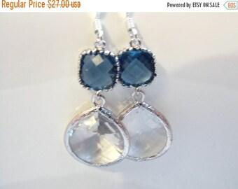 SALE Glass Earrings, Crystal Earrings, Dark Blue Earrings, Clear, Transparent, Silver Earrings, Bridesmaid Earrings, Bridal, Bridesmaid Gift
