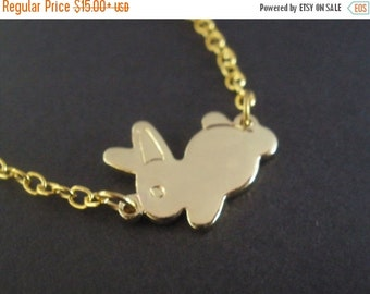 SALE Gold Necklace, Rabbit Necklace, Bunny Necklace, Gold Bunny, Gold Rabbit, Rabbit Pendant, Bunny Pendant, Small Bunny, Tiny, Animal Jewel
