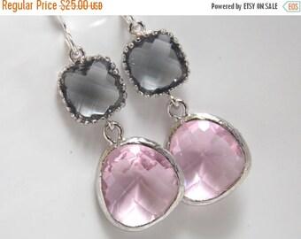 SALE Pink Earrings, Gray Earrings, Silver Grey Earrings, Soft Pink, Rose, Glass, Bridesmaid Earrings, Bridal Jewelry, Bridesmaid Gifts