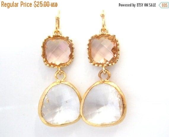 SALE Glass Earrings, Peach Earrings, Crystal Earrings, White, Beige, Champagne, Gold, Wedding, Bridesmaid Earrings, Bridesmaid Gifts