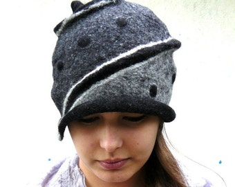 Felted Hat Felt Cap wool hat  cloche hat for women raw grey boho hat