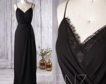 2016 Black Bridesmaid Dress, V Neck Lace Wedding Dress, Spaghetti Straps Prom Dress, Open Back Formal Dress Floor Length (L136)