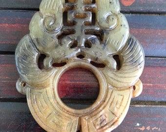 Handcarved vintage carved jade decor element